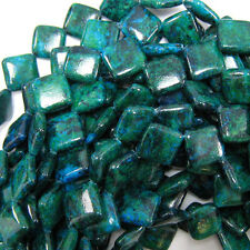 "18mm blue green azurite diamond beads 15"" strand"