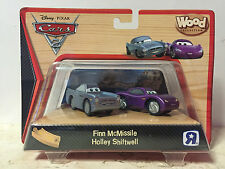 Disney Cars 2 WOOD Collection Set - Finn McMissile & Holley Shifwell RARE