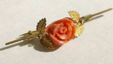 ANTIQUE VICTORIAN 14K YELLOW GOLD CARVED PINK CORAL ROSE LEAF BROOCH PIN