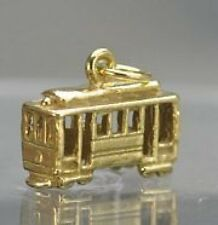 Trolley Street Car Train 24kt Gold plated Charm Pendant