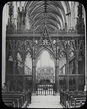 Glass Magic Lantern Slide ELY CATHEDRAL CHOIR SCREEN C1890 PHOTO ENGLAND CAMBS