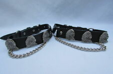 New Biker Men Western Women Boots Silver Chains Pair Leather Straps Metal Eagle