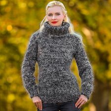 SUPERTANYA BLACK GRAY Hand Knitted Mohair Sweater Fuzzy Handmade Top Jersey SALE
