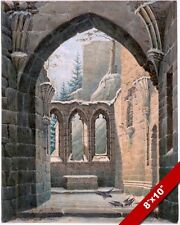 GOTHIC CHURCH MONASTERY WINTER GERMANY IN RUINS PAINTING ART REAL CANVAS PRINT