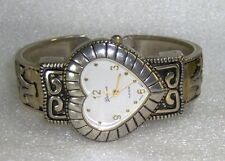 PREOWNED GENEVA BRAND TWO TONE WATCH W/HEART SHAPED FACE & CUFF STYLE