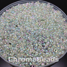 50g glass seed beads - Clear Rainbow - approx 3mm (size 8/0)