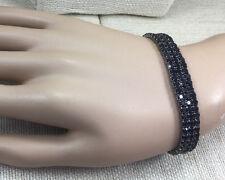 Vintage Style Bracelet Rhinestone & Gunmetal Black Goth Stretch Sparkly