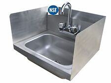 Commercial Stainless Steel Wall-Mount Hand Sink with Side Splashes - NSF