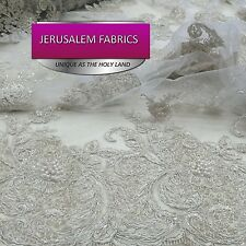 Incredible Bridal Wedding Mesh Lace Flowers Beaded Fabric White. Sold By Yard