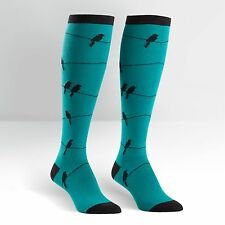 Sock It To Me Women's Funky Knee High Socks - Birds On Wire - Teal