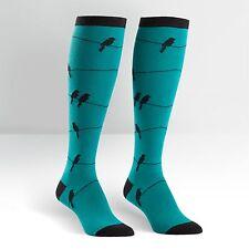 Sock It To Me Women's Funky Knee High Socks - Birds On Wire - Teal