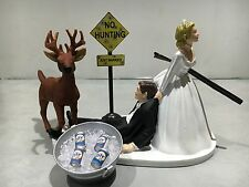 Hunt Hunting Humor Funny Bride Groom Wedding Cake Topper Miller Beer Buck Gun