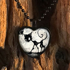 Gothic Black Kitty Cat & Full Moon Glass Heart Halloween Pendant Necklace