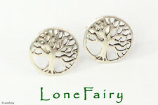Solid 925 Sterling Silver Tree of Life Novelty Stud Earrings Quality 9mm