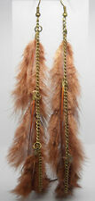 F1183 long brown Feather charm chain vogue light noble new dangle earrings