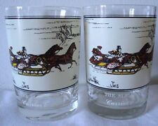 2 Currier & Ives The Sleigh Race Glass Abby 's Collector's Serie NY Museum