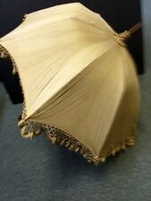 VINTAGE VICTORIAN PARASOL UMBRELLA WOOD EXTENDS LACE METAL LOCKING BEIGE MR