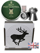 500 BISLEY Pest Control .177 Pellets Air Rifle + 100 14cm Stag Targets (4.5mm