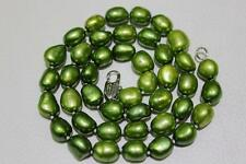 Fresh water pearl necklace Olive Green rice 8x10mm 17INCH