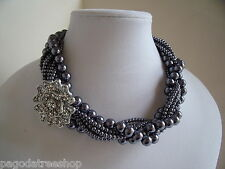 New Grey Twisted Faux Pearl Necklace of 8 strands with a Diamante Emblem