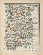 1900 VICTORIAN MAP ~ IRELAND SOUTH EAST TIPPERARY MEATH LONGFORD DUBLIN