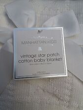 Manhattan Kids Vintage Star Patch 100% Cotton Baby Blanket White with Gift Bow