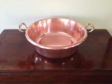 Antique HEAVY French large copper pot cauldron kettle handcrafted brass handles