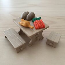 """Playmobil """"Wood"""" Table with Bench Stool Food for Castle Kitchen Pirates Diorama"""
