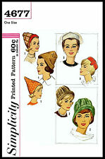 Millinery # 4677 SIMPLICITY HAT Fabric Sew Pattern Alopecia PIXIE Cloche Pillbox