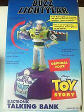 Disney Buzz Lightyear Electronic Talking Bank NIB Original Voice 1995 Toy Story