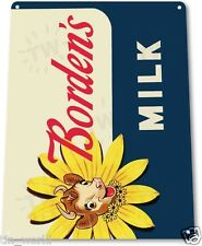 "TIN SIGN ""Borden's Milk"" Metal Decor Wall Art Kitchen Farm Cottage Store A021"
