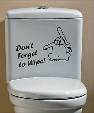 Simon's Cat Don't Forget to Wipe Funny Humor Sticker Decal Vinyl Toilet Bathroom