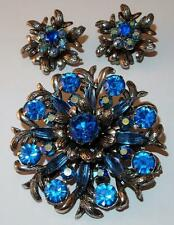 VINTAGE SIGNED SELRO SELINI AURORA BOREALIS BLUE RHINESTONES BROOCH EARRINGS SET