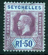 SEYCHELLES-1924 1R.50 Purple & Blue/Blue Sg 121 FINE USED V10650