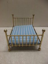 BRASS METAL MINIATURE DOLLHOUSE DOLL HOUSE BED W/MATTRESS