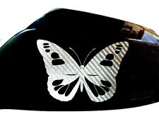 Butterfly Girl Car Stickers Wing Mirror Styling Decals (Set of 2), Silver Carbon