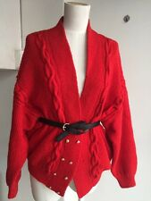•Vintage• Oversized Red Handknit Cable Wool Granny Cardigan Jacket Top Sz M L