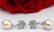 YR032 Süßwasser Perle Schmuck Ohrringe Ohrstecker Zirkonia 925 Silber wie Schnee