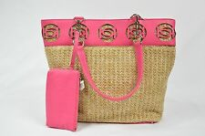 Bebe pocketbook handbag tote pink straw tote 211831 beach bag