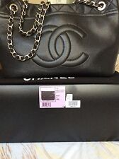 Auth Chanel Grand-Shopper Tote Caviar Leather Silver Hardware Made in France