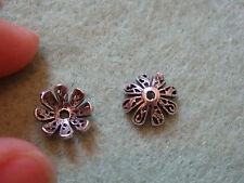 sterling silver bead caps 925 flower spacer UK finding 8 mm antique tone