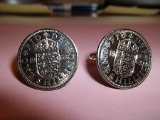 ENGLISH SHILLING 3 LIONS COIN CUFFLINKS 1957 - 60th BIRTHDAY