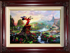 Thomas Kinkade Disney Fantasia 18x27 S/N Framed Limited Canvas Mickey Mouse