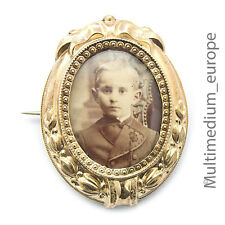 Biedermeier Historismus Photo Brosche Silber vergoldet  pin brooch silver gilt