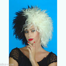Cruella Deville Deluxe Wig Black and White Women's Fancy Dress Costume Wig