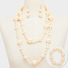 "60"" faux pearl necklace 2.25"" earrings stretch bracelet 3 piece"