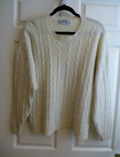 Liberty by Murray Allan  Pure Cashmere Crew Neck Cream cable Knit Jumper sz 16