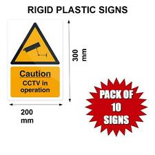 Pack of 10 RIGID CCTV in operation warning signs stiff plastic warehouse shop
