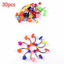 Lot Of 30 Mix Color Stainless Acrylic Stars Barbell Bar Navel Belly Button Ring