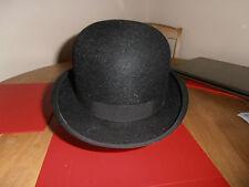 Vtg 1940s Failsworth for Selfridges  Black Felt Bowler Hat Size 6 7/8